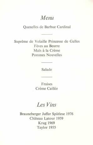 menus royaux mariage du prince charles et de lady diana spencer noblesse royaut s. Black Bedroom Furniture Sets. Home Design Ideas