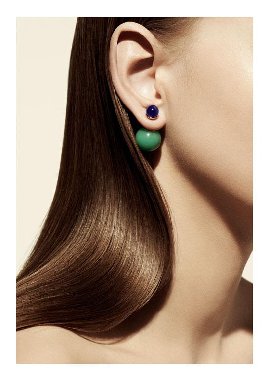 Boucles d'oreilles double perle dior