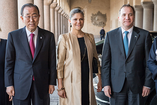 Stockholm 2016-03-30 Crown Princess Victoria, Ban Ki-moon, Stefan Löfven arriving to City Hall Stockholm. UN Secretary-General Ban Ki-moon, Prime Minister Stefan Löfven and Crown Princess Victoria attended today at the Dag Hammarskjöld Lecture in the Blue Hall in the City Hall, Stockholm. This is the crown princesss first mission since she gave birth to Prince Oscar i marsh. COPYRIGHT STELLA PICTURES