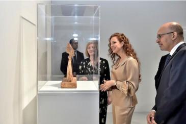 Lalla Salma du Maroc visite l'exposition Giacometti à Rabat