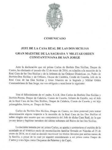 Changements dynastiques dans la famille des Deux-Siciles : réaction du duc de Calabre