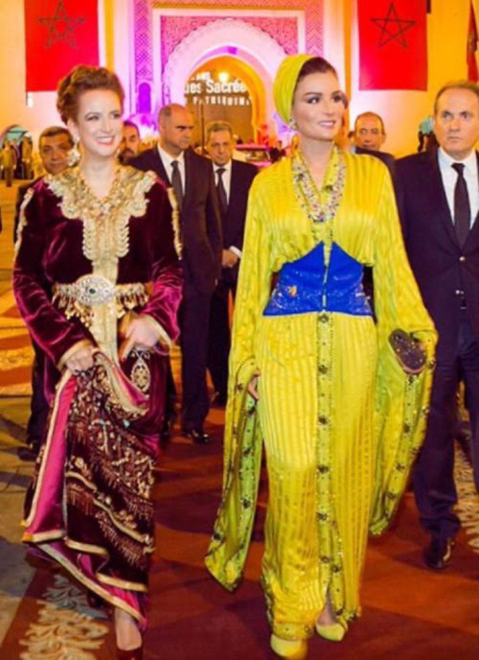 Gros plan sur les caftans de Lalla Salma du Maroc et de la sheikha Mozah