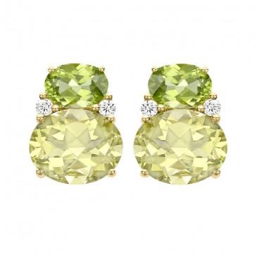 Boucles d'oreilles en péridots et quartz de Kiki Mc Donough