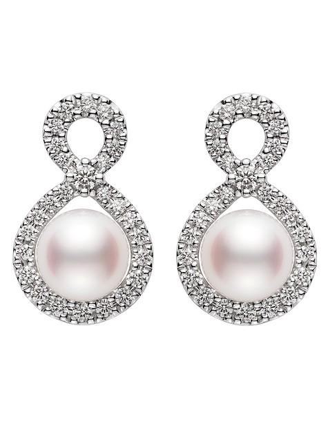 """ff18f929405 Boucles d oreilles """"Ruyi"""" du joaillier Mikimoto en perles de culture Akoya  et diamants."""