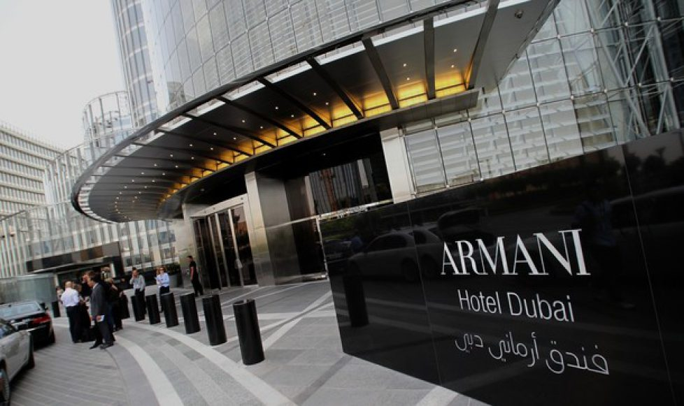 People stand outside Dubai's Armani hote