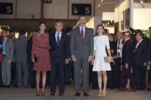 Les souverains espagnols et le couple présidentiel argentin à ARCO