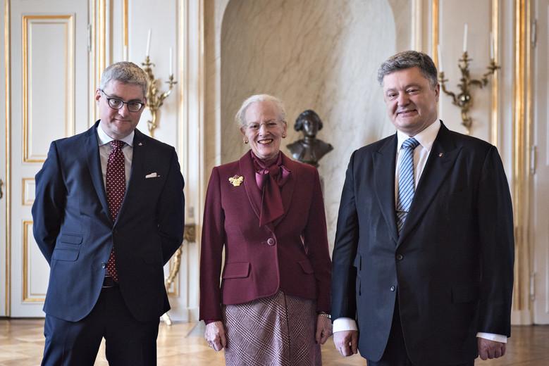 Dronningen modtager Urkaines præsident, Dronning Margrethe, Dronningen
