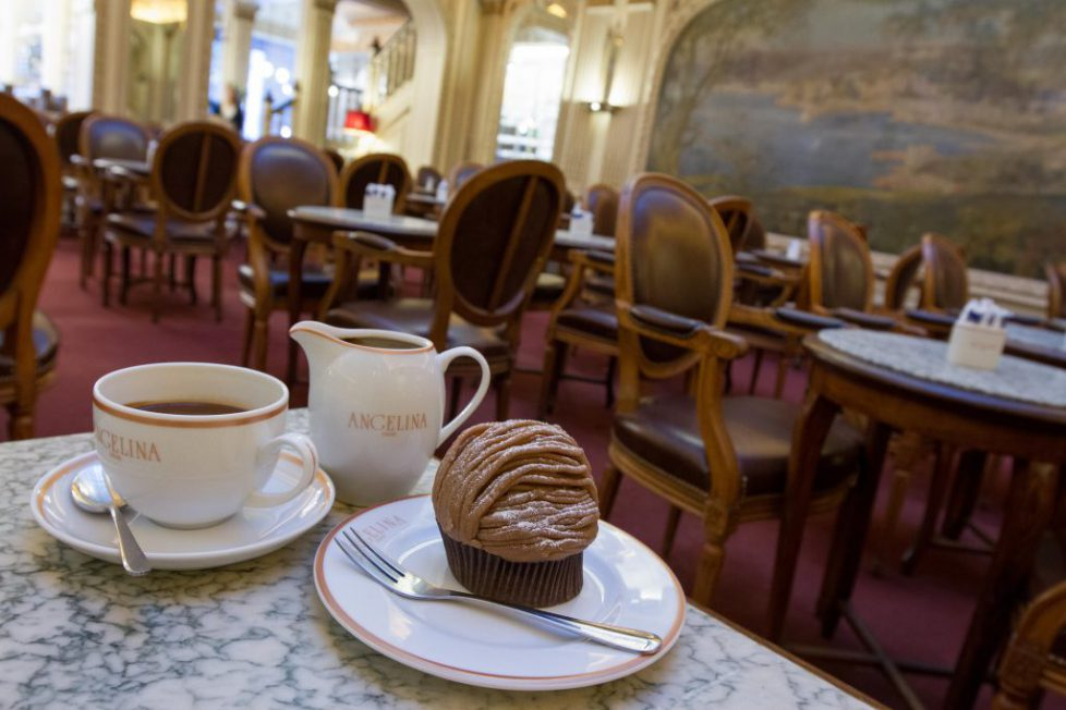 Tea and cakes at the historic tea room Angelina Paris France. Image shot 2016. Exact date unknown.
