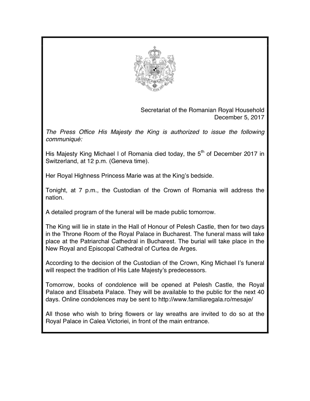 Death Announcement King Michael of Romania