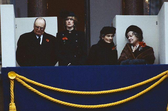 King Olav V with British Royals on Remembrance Day