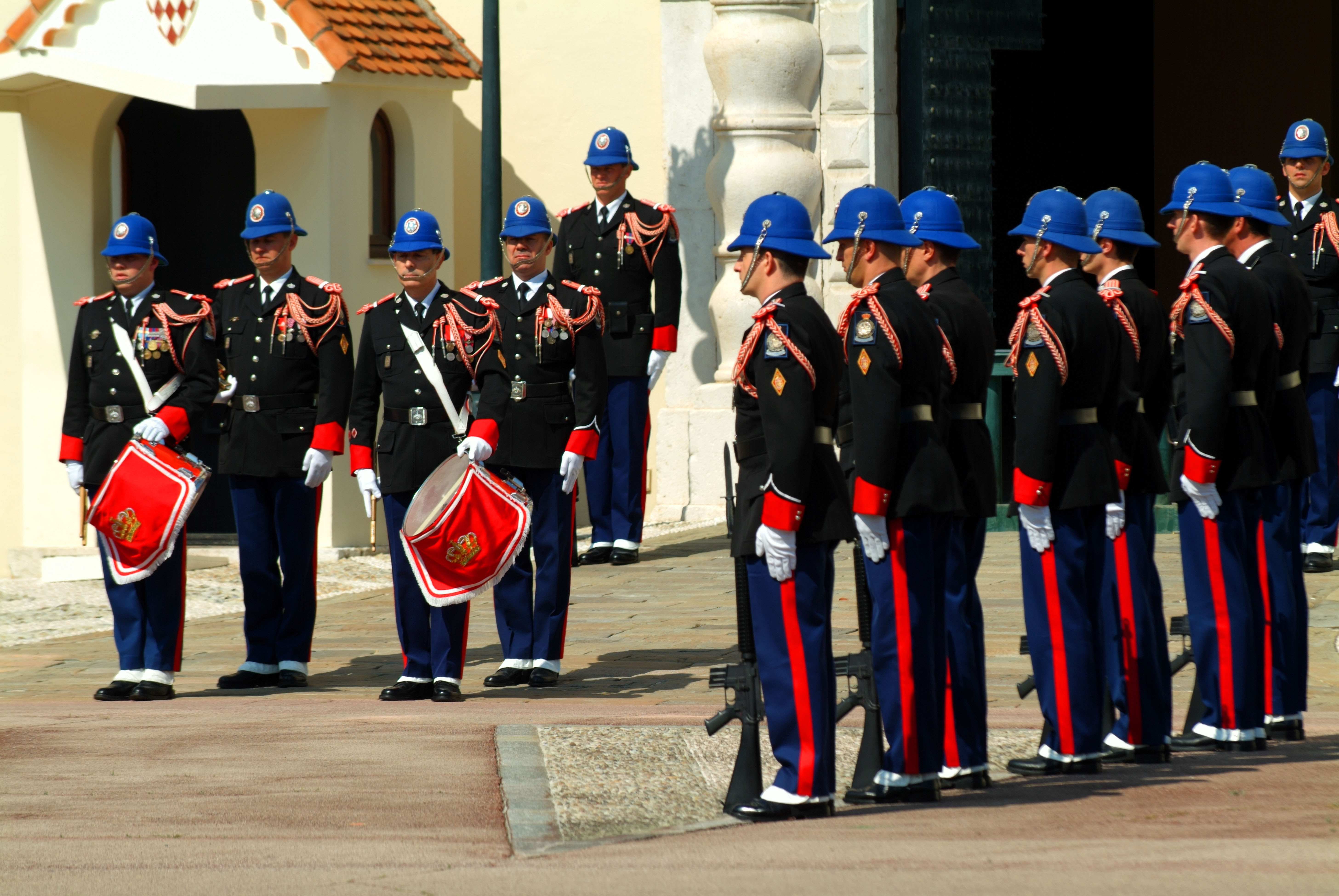 monaco principality cote d azur france south of france French changing of the guard soldiers police military men male