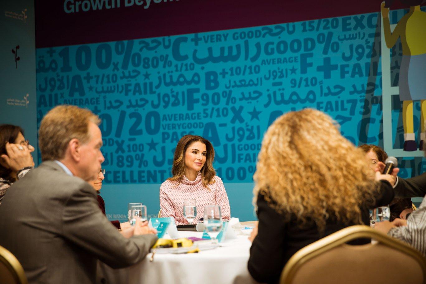 Rania De Jordanie A Un Forum De Formation Des Enseignants Noblesse Royautes