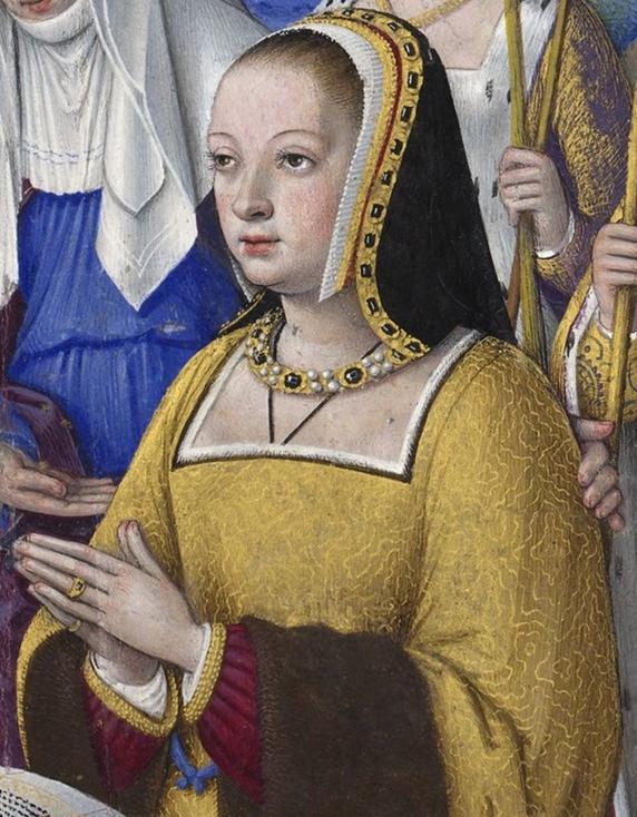 BNF_-_Latin_9474_-_Jean_Bourdichon_-_Grandes_Heures_d'Anne_de_Bretagne_-_f._3r_-_Anne_de_Bretagne_entre_trois_saintes_(détail)