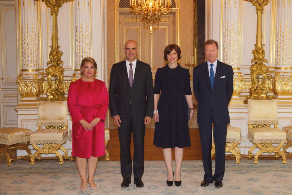 Audience de LL AA RR le Grand-Duc Henri et la Grande-Duchesse Maria Teresa de Luxembourg avec le PŽrsident de la confŽdŽration Suisse Alain Berset et Mme Muriel Zeender Berset