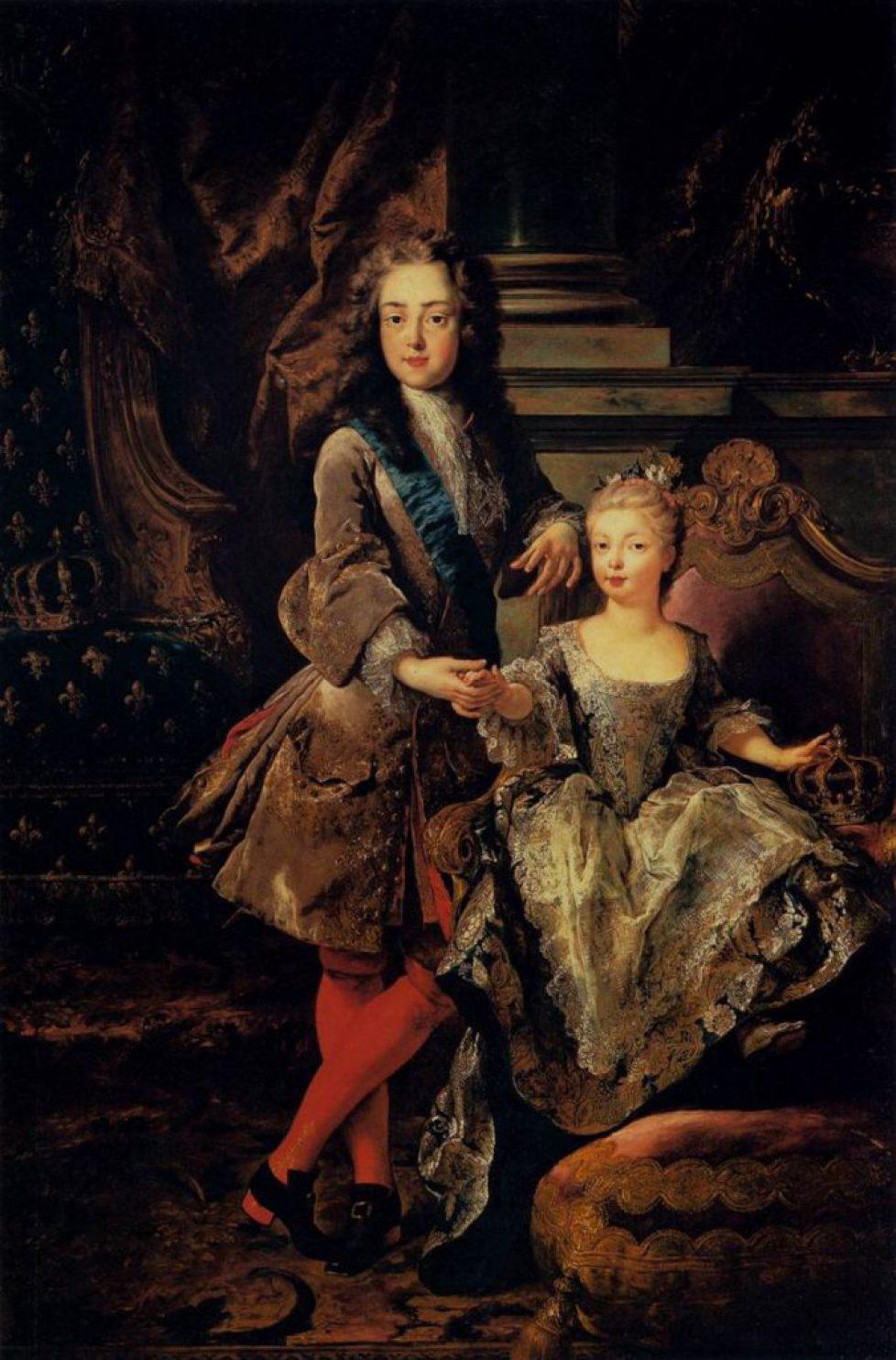 800px-Louis_XV_with_Marie_Anne_Victoire_d'Espagne_by_François_de_Troy,_Pitti