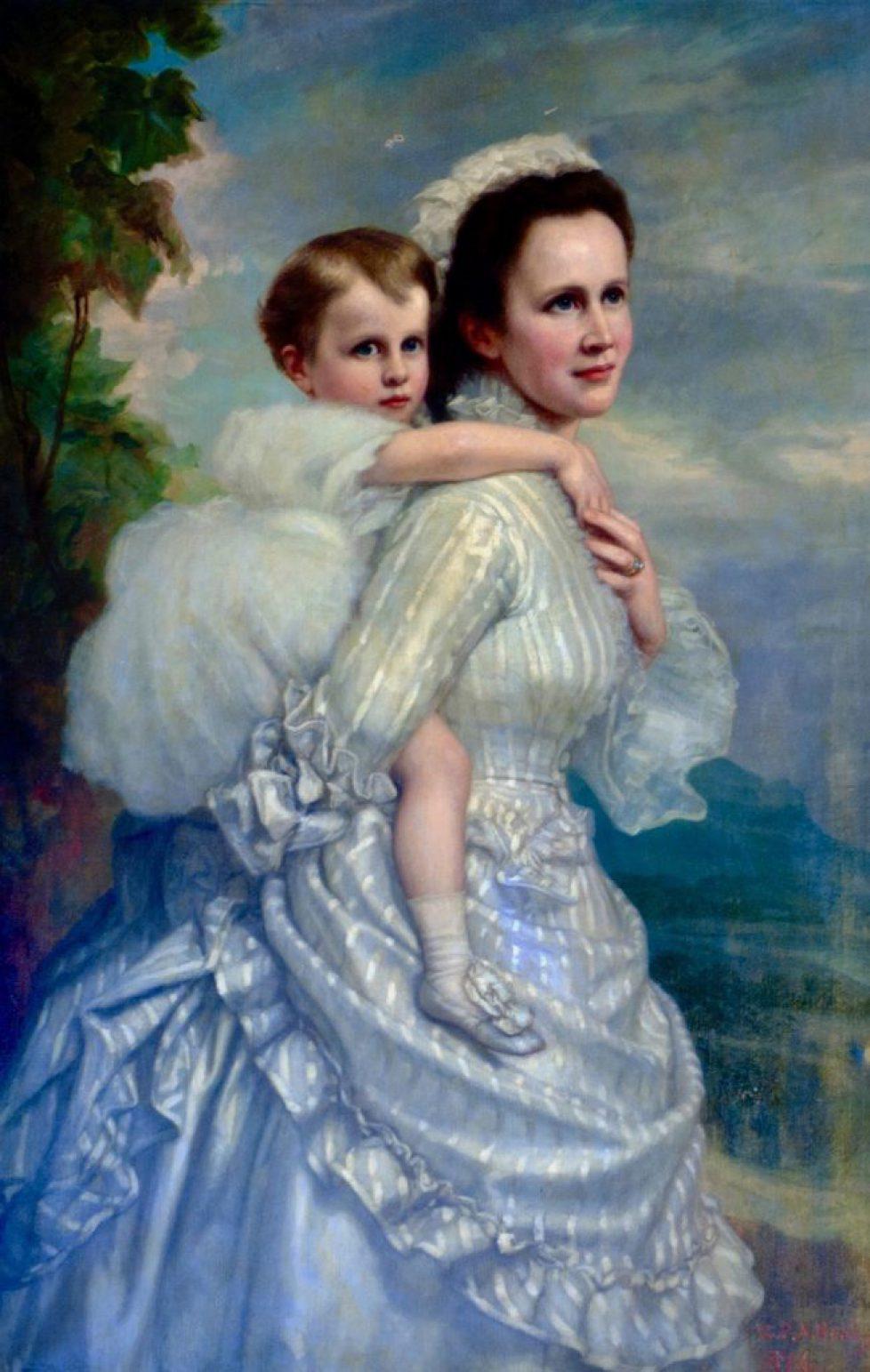 Regina-Elisabeta-a-Romaniei-si-Principesa-Maria-pictura-in-ulei-de-GPA-Healy