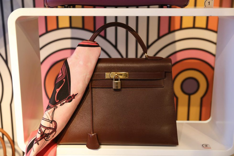 Hermes kelly bag vintage expensive women hand bag. Image shot 2014. Exact date unknown.
