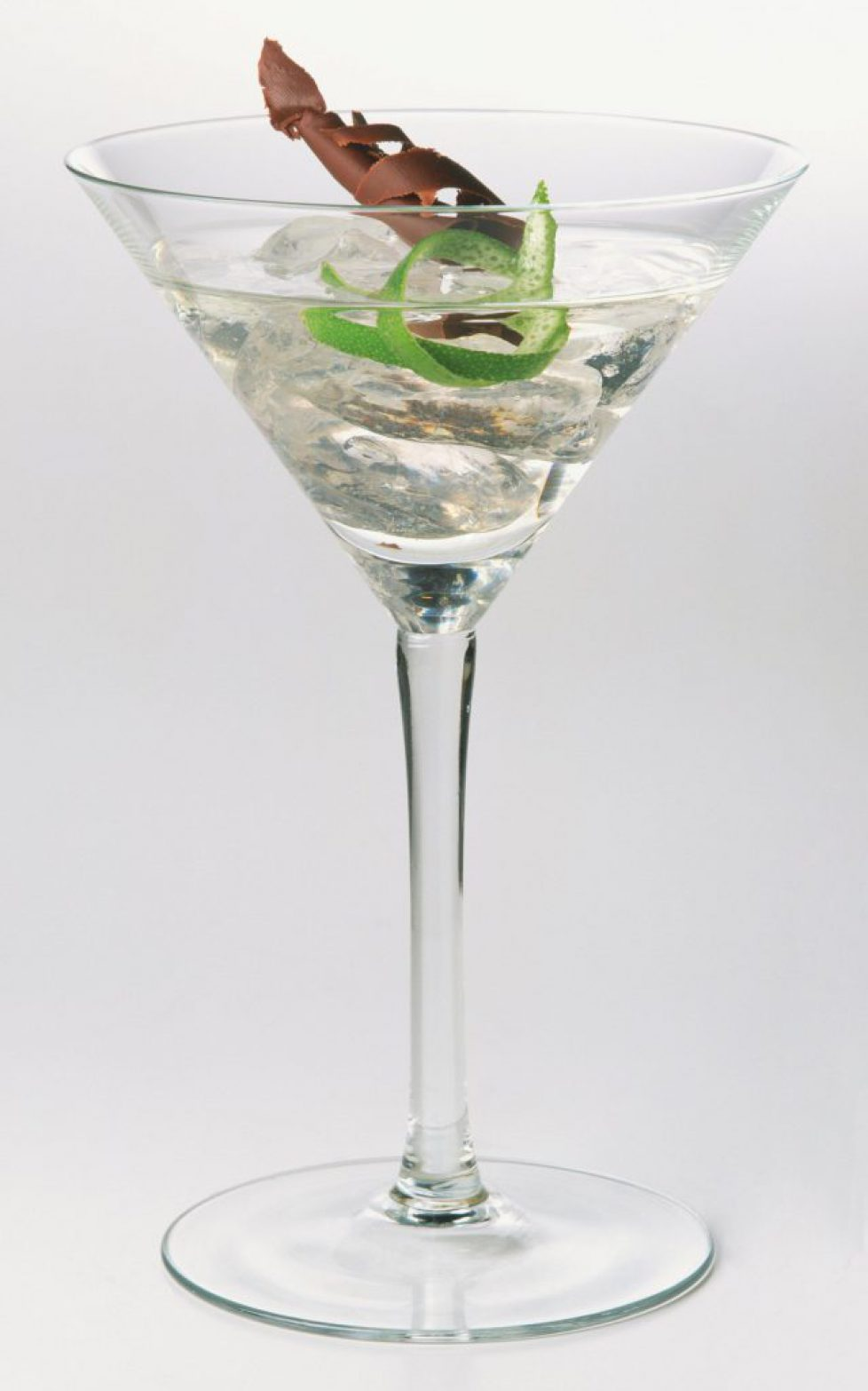 Nureyev, a vodka cocktail served in classic martini cocktail glass decorated with lime and chocolate shavings.