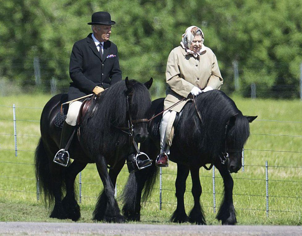 Queen Elizabeth on a morning horse ride at Windsor Castle